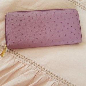 Amethyst genuine Leather zip around wallet